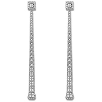 Длинные ровные серьги Gucci Chiodo из белого золота с белыми бриллиантами, фото