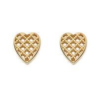 Золотые серьги-гвоздики Gucci Diamantissima в форме сердец с крестообразной перфорацией, фото