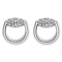 Серьги-гвоздики Gucci Horsebit округлой формы из белого золота с бриллиантами, фото