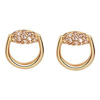 Серьги-гвоздики Gucci Horsebit округлой формы из желтого золота с бриллиантами, фото