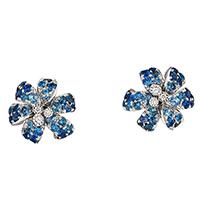 Серьги-гвоздики Gucci Flora в форме цветов с синими сапфирами и бриллиантами, фото
