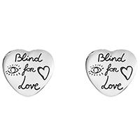 Серьги-гвоздики Gucci Blind for love из серебра с романтичной гравировкой, фото