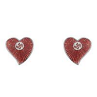 Серебряные серьги-гвоздики Gucci San Valentino в форме сердца с красной эмалью, фото