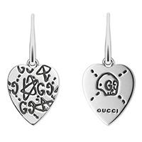 Серебряные серьги Gucci Ghost в виде сердца с гравировкой, фото