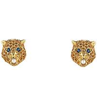 Золотые серьги Gucci Le Marche des Merveilles в виде кошачьих голов с драгоценными камнями, фото