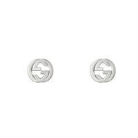Серебряные серьги-гвоздики GucciInterlocking G в виде символа с текстурированным контуром, фото