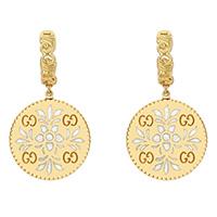 Серьги-подвески Gucci Icon из желтого золота и белой эмали с арабской гравировкой, фото