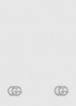 Серьги-гвоздики Gucci GG Running с бриллиантовым паве, фото