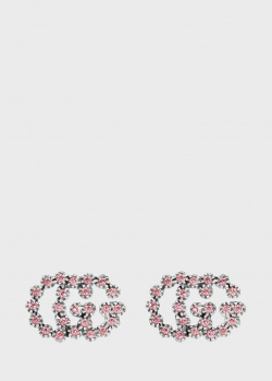 Золотые пусеты Gucci GG Running с розовыми топазами, фото