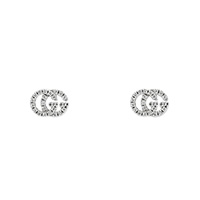 Серьги-пусеты из белого золота Gucci Running G в виде логотипа в бриллиантах, фото