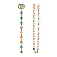 Золотые серьги-гвоздики с макси-подвеской Gucci Running G с цветными камнями, фото
