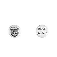 Круглые серьги-гвоздики Gucci Blind for love с гравировкой головы кошки, фото