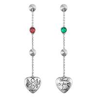 Длинные серьги-подвески Gucci Blind for love с цветными камнями и подвесками-сердцами, фото