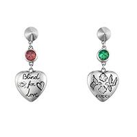 Серьги-подвески Gucci Blind for love с цветными камнями и подвесками-сердцами, фото