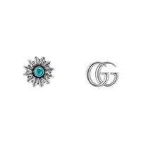 Серебряные сережки Gucci GG Marmont с цветком и голубым топазом, фото