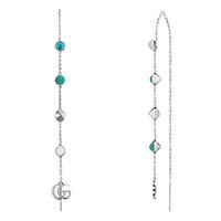 Серебряные серьги-цепочки Gucci GG Marmont декорированные камнями и подвесками, фото