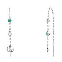 Длинные серебряные серьги Gucci GG Marmont с подвеской и цветочным кулоном, фото