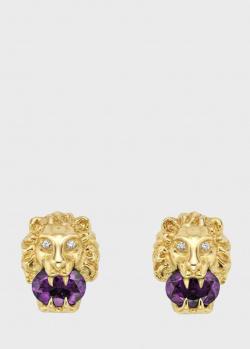 Пусеты с аметистами Gucci Lion head в виде льва, фото