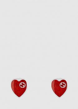 Серебряные серьги Gucci в форме сердца, фото
