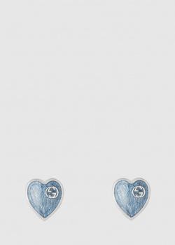 Серьги-сердца Gucci с голубой эмалью, фото