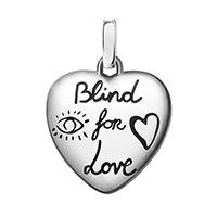 Серебряный кулон Gucci Blind for love в форме сердца с двухсторонней гравировкой, фото