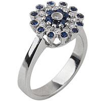 Золотое кольцо с россыпью бриллиантов и сапфиров, фото