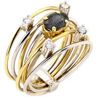 Широкое кольцо с сапфиром в комбинированом цвете золота, фото