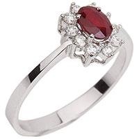 Кольцо из золота с бриллиантами и рубином, фото