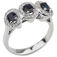 Золотое кольцо с бриллиантовой россыпью и сапфирами, фото