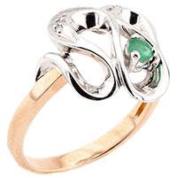 Золотое кольцо с изумрудом в комбинированном цвете металла, фото