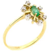 Золотое кольцо с бриллиантом и изумрудом, фото