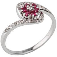 Золотое кольцо с бриллиантами и рубинами в виде цветка, фото