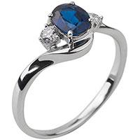 Помолвочное кольцо с бриллиантами и сапфиром, фото