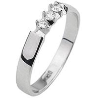 Золотое кольцо с бриллиантами в белом цвете металла, фото