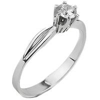Помолвочное кольцо с бриллиантом из белого золота, фото