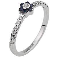 Золотое кольцо с сапфиром в форме цветка, фото