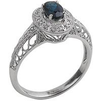 Перстень из белого золота с бриллиантами и сапфиром, фото