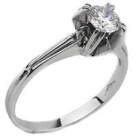 Кольцо с белым бриллиантом из белого золота, фото