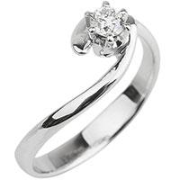 Кольцо с бриллиантом из золота с изгибом, фото