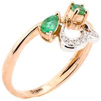 Кольцо из красного золота с изумрудами и бриллиантами, фото