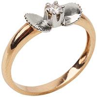 Кольцо с бриллиантом с вставкой из белого золота, фото