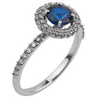 Золотое кольцо с крупным сапфиром и бриллиантами, фото