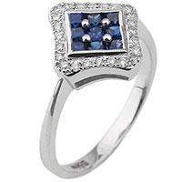 Золотое кольцо в виде ромба с бриллиантами и сапфирами, фото