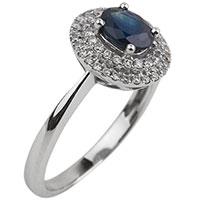 Золотое кольцо с сапфиром и россыпью бриллиантов, фото
