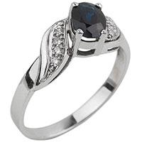Кольцо из золота с сапфиром синего цвета, фото