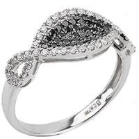 Золотое кольцо с белыми и черными бриллиантами, фото
