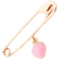 Золотая булавка Сердце с розовой эмалью, фото