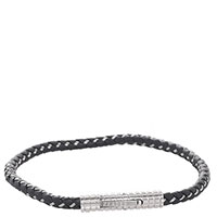 Черный браслет Zeades из плетеной кожи, фото