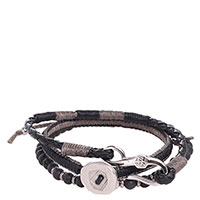 Черный тройной браслет Zeades из плетеной кожи, фото