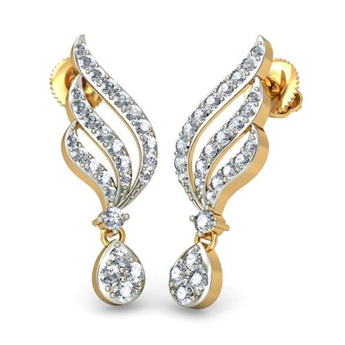 Золотые серьги Kiev Jewelry Achala с инкрустацией бриллиантами 000930-1046885, фото